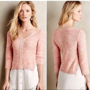 5/$20 Moth Anthropologie Coral & Cream Sweater